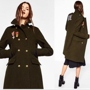 Zara Wool Badge Embroidered Military Long Coat